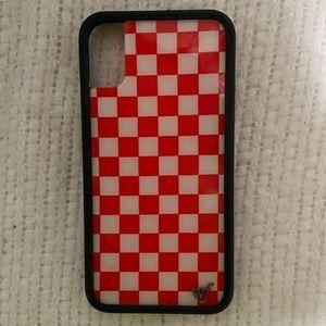 checkered red & white wildflower iphone x case